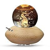 HILEYOLLA 3D Kristallkugel Spieluhr,Kleine Prinz und Rose Nachtlicht Spieluhr mit Warmem-Projektionsleuchte Holzsockel Rotierende K9 Spieluhren für Weihnachten Geburtstags-Erntedankgeschenk