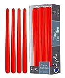 Hyoola 12er Pack Stabkerzen Tropffrei – 10 Stunden Brenndauer – Leuchterkerzen Rot – Unparfümiert – 30 cm Tafelkerzen, Hergestellt in Deutschland