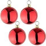 your castle 4 große Weihnachtskugeln Christbaumkugel rot glänzend 25 cm Durchmesser. Hochwertig für Innen und wetterfest für Aussen. Mit Stahlring zur einfachen und wiederverwendbaren Befestigung