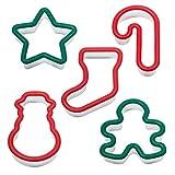 Westmark Ausstechförmchen für Kinder, Weihnachtsmotive, 5-tlg., Kunststoff, Kids, Grün/Rot, 30572230