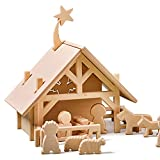Lovelties Holz Weihnachtskrippe mit Figuren - Minimalistische Weihnachtsdeko Krippe & Stall mit 12 Krippenfiguren - Weihnachten Deko Bethlehem Krippenstall zum Spielen für Kinder - 29 x 22 x 22 cm