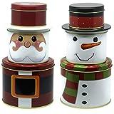Bada Bing 6tlg. Set Metalldose Keksdose Weihnachtsmann Nikolaus Schneemann Plätzchendose Weihnachtsdose Rund Stapelbar Trend Neu 05