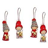 Dekohelden24 Weihnachtswichtel als Baumbehang im 4er Set in grau/rot mit Glöckchen, 8 cm, 550041