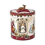 Villeroy und Boch - Christmas Toy's Windlicht 'Christkind' groß rund, dekoratives Geschenkpaket aus Hartporzellan, für Teelichter geeignet, integrierte Spieluhr, bunt