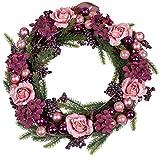 dekojohnson Weihnachtskranz Weihnachtsdeko-Kranz Türkranz Adventskranz Weihnachtskugeln Kranz Winterkranz Tischkranz rosa violett grün Ø 38 cm