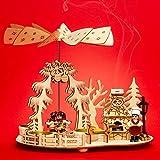 SIKORA P35 2-in-1 Holz Teelicht Weihnachtspyramide Backstube mit rauchendem Backofen
