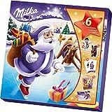 Milka Weihnachtsfreunde Adventskalender 1 x 143g, Mix aus 7 Milka Süßigkeiten, Zwei zufällige Designs