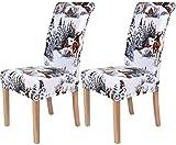 Homaxy Universal Stretch Stuhlhussen 2er 4er 6er Set Stuhlbezug für Stuhl Esszimmer (2er Set, Weihnachten B)