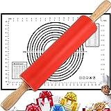 Nudelholz aus Silikon mit Backmatte, drehbare Teigroller ergonomische Holzgriffe und Antihaftbeschichtet, BPA freie Teigrolle mit Backunterlage für Pizza, Nudeln, Kuchen, Fondant, 43 cm Länge – Rot
