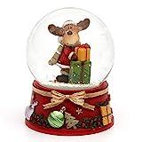 Dekohelden24 Schneekugel mit Elch und roter Sockel, Maße L/B/H: 7 x 7 x 8,5 cm Kugel Ø 6,5 cm.