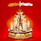 Sikora P31 LED Holz Weihnachtspyramide mit elektrischem Antrieb und beleuchteten Kerzen und Sockel H: 32,5 cm, Farbe/Modell:A02 Motiv Winterkind mit Schneemann