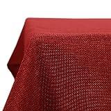 Deconovo Tischdecke Wasserabweisend Tischdecke Lotuseffekt Tischtuch Leinenoptik, 130x280 cm, Rot, 1 Stück