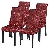 NIBESSER 4 Stück Stuhlhussen Stretch Weihnachten Stuhlbezug elastische Moderne Husse Dekoration Stuhlüberzug für Universelle Passform