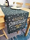 Lifestyle Tischläufer Weihnachten   Hochwertige Tischdecke, dunkelgrau in schicker Farbkombination 40x140 cm   Weihnachtsdeko Tisch Sterne 'Merry Christmas' Elegance   Fleckschutz und abwaschbar