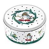 Grätz Verlag Winterliche Keksdose 'Winter Vogel' | Retro Dose Metall Weihnachten zur Aufbewahrung | Blechdose für Kekse, rund, grün - rot, Weihnachtskonditorei