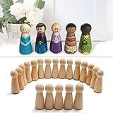 Anladia 20 x Holzkegel zum Bemalen Holzfiguren Unvollendete Spielfiguren Kinder DIY Krippenfiguren Figurenkegel Dekoration