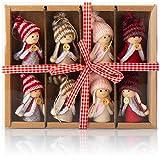 com-four® 8X Premium Wichtel-Anhänger für den Weihnachtsbaum, Bezaubernde Christbaum-Figuren Anhänger als Baumbehang, Weihnachtsschmuck oder Geschenk-Anhänger
