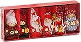 Brubaker 6-teiliges Set Weihnachtswichtel aus Holz und Strick - Baumanhänger Weihnachtsanhänger - 8 cm in Geschenkbox Rot
