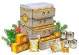 Honig Adventskalender in hochwertiger Bienenkasten-Optik – naturbelassener Honig zum Verschenken oder Kennenlernen   Geschenkset mit 21 Sorten Honig, Honigbonbons und Honig-Gummibärchen