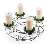 Moderner Metallkranz - D50cm - Silber - Adventskranz aus Edelstahl für 4 Kerzen - Hochwertige Weihnachtsdeko
