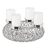 EDZARD Adventskranz Milano Silber, Edelstahl vernickelt, Durchmesser 34 cm, Kerzenteller ø 8cm, moderner Kerzenhalter, Perfekt für Cornelius Kerzen
