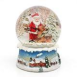 Dekohelden24 Wunderbare Schneekugel, Santa mit Rentier 500892-A Maße H/B/ Kugel: ca. 8,5 x 7 cm/ 6,5 cm