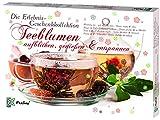 Feelino Teeblumen Geschenk-Kollektion mit 24 verschiedenen Teerosen, Teeblüten-Probierset, Adventskalender, Kalender, einzeln verpackt, weißer grüner schwarzer Tee