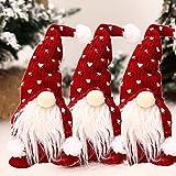 3 Stück Weihnachten Puppe Weihnachten Deko Wichtel Handgemachte Wichtel Figuren Weihnachten Deko, Mini Santa Dolls Süße Plüschtier Sitzende Weihnachtswichtel Gesichtslose Dwarf 30cm (Rot)