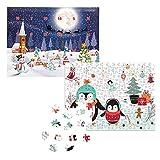 fotopuzzle.de Puzzle-Adventskalender in der Pinguin-Edition | 200 Teile | ohne Süßigkeiten