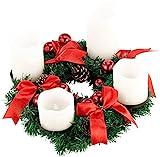 Britesta Gestecke LED-Kerze: Adventskranz mit weißen LED-Kerzen, rot geschmückt (Adventskranz mit LED-Beleuchtung)