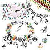 Cheer4bee Charm Armband Kit DIY - Geschenk für Mädchen Teens, adventskalender zum befüllen mädchen adventskalender 2020, Armband Mädchen Geschenk 8-12 Jahre, Schmuck Bastelset Mädchen(3 Silber Kette)