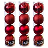 Wohaga 12er XXL Weihnachtskugeln Set 'Lord', Ø15cm, Kunststoff - Christbaumkugeln Tannenbaumkugeln, Farbe:Rot
