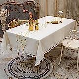 VIVILINEN Rechteckige Tischdecke Rechteckige Tischdecke aus Baumwollleinen Waschbare Quasten-Tischdecke für die Dinnerparty in der Küche(140 x 140cm)