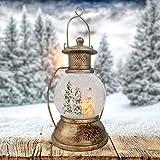 Wichtelstube-Kollektion XL LED Schneekugel Weihnachten Laterne viele Melodien Glitzerkugel Winterwald Vintage