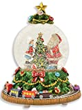 Riffelmacher Spieluhr Schneekugel'Weihnachtsbaum mit umfahrender Eisenbahn' 72292 - Schneeflocken und Musik - 18cm - Wunderschöne Glaskugel mit Dekoration Weihnachten
