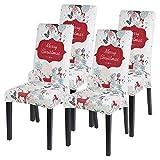 Souarts Xmas weihnachtlich Stuhlhussen 1er/2er/4er/6er Set Strech Stuhlbezug Moderne Husse Dekoration Stuhlüberzug Stuhl Universal Passform für Esszimmer Party Banquet (4er Set, Weiss)