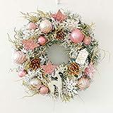 ZHENGXIN Klassischer Türkranz,Tannenkranz,Weihnachtskranz 40cm rosa Schneespray Ring Dekoration Hotel Einkaufszentrum Schaufenster Tür Anhänger