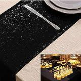 ShinyBeauty 35cmx275cm Pailletten tischläufer Gold Glitzerndes für Hochzeit/Party Jahrestag geburtstagsessen bankett (Schwarz, 30x180cm)