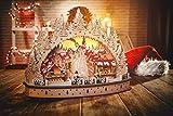 Wichtelstube-Kollektion LED Holz Schwibbogen Oval Weihnachtsmarkt im Erzgebirge Lichterbogen Schwippbogen mit Timer