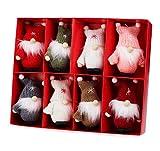 Weihnachtswichtel aus Holz 8-teiliges Set in Geschenkbox, 9 cm Baumanhänger Weihnachtsanhänger, Anhänger für den Weihnachtsbaum - als Weihnachtsbaumschmuck, Deko & Geschenk