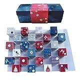 Lauensteiner Adventskalender Winter-Cubes | 310g handgefertigte Weihnachtsleckereien |13fach sortiert, mit und ohne Alkohol | Geschenk für Männer und Frauen, 1er Pack