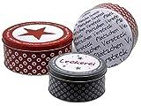 Bada Bing 3er Set Metalldose Keksdose Plätzchenversteck Plätzchendose Weihnachtsdose rund Stern Trend 34