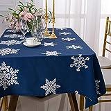 Tischdecke Weihnachten Schneeflocke Tischdecke Baumwolle Leinen Bestickte Tischdecke Rechteckige Tischdecke Wasserabsorbierend Und Rutschfest 140×180cm (Rot/Blau)