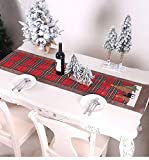 Katzinst Tischläufer zu Weihnachten, Weihnachten Tischläufer, Rot Plaid Weihnachten Tischdecke Abwaschbar Esstisch Läufer Weihnachten Tischdekoration Weihnachtselch