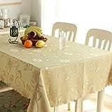FJPTREN Tischdecke Ornamente Seidenglanz Schmutzabweisend Abwaschbare Tischdecken Familie Festliches Abendessen 100% Polyester Hohe Faser (Braun, 140 x 180 cm)