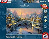Schmidt Spiele 58450 - Thomas Kinkade 'Winterliches Dorf', 1000 Teile Puzzle