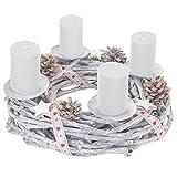 Mendler Adventskranz rund, Weihnachtsdeko Tischkranz, Holz Ø 30cm weiß-grau - mit Kerzen, weiß