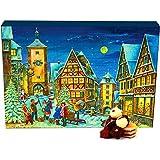 Hallingers 24 Pralinen-Adventskalender, mit/ohne Alkohol (300g) - Rothenburg (Advents-Karton) - zu Weihnachten Adventskalender