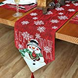 Schneemänner Druck-Motiv Weihnachten Tischläufer, Weihnachtstischläufer, Weihnachten Tischdecke Dekoration, Festliche Weihnachtstischdekoration für Feier, Esszimmer Party Urlaub Dekoration(183X33 cm)