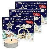 Ebersbacher Kerzenfabrik GmbH 36er Set Pyramiden-Teelichte, speziell für Teelichtpyramiden entwickelt, inkl. Räucherkerzen Dekohelden-Waldwichtelduft dazu.